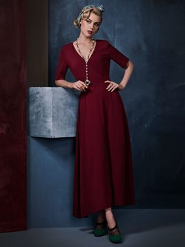 Ericdress Ladylike Soild Color Expansion Lace-Up Maxi Dress
