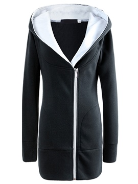 Ericdress Color Block Asymmetric Straight Casual Hoodie
