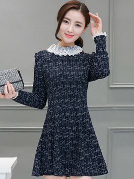 Ericdress Lace Patchwork Cowl-Neck Trumpet Casual Dress