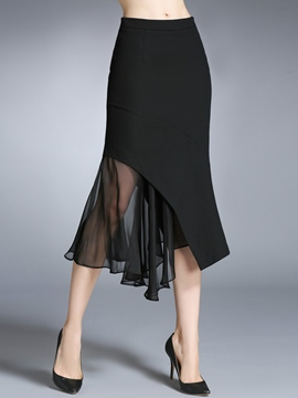 Ericdress Asymmetrical Ruffles Pleated Mesh See-Through Skirt