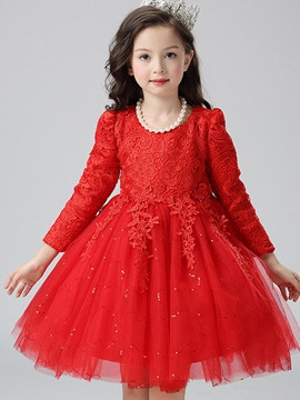 Ericdress Lace Solid Color Bow Long Sleeve Girls Princess Dress
