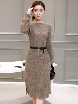 Ericdress Pocket Patchwork Split Belt Knee-Length Sweater Dress