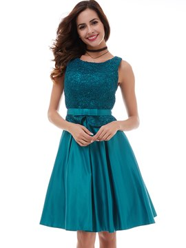 Ericdress court dentelle a-ligne Zipper genou-longueur du dos court Party Dress
