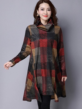 Ericdress Heap Collar Plaid Loose Casual Dress