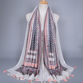 Ericdress High Quality Voile Printed Tassels Scarf