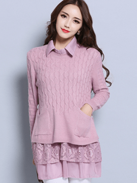Ericdress Falbala Hollow Lace Sweater Dress Suit