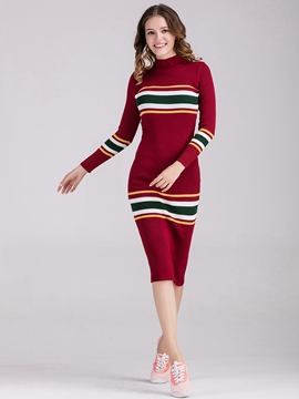 Ericdress Strip Color Block Patchwork Sweater Dress