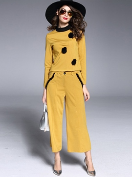 Ericdress Color Block Long Sleeve Wide Legs Pants Suit
