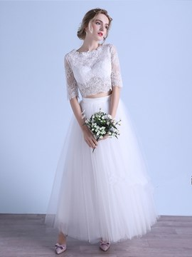 Ericdress Half Sleeves Lace Two Piece Wedding Dress