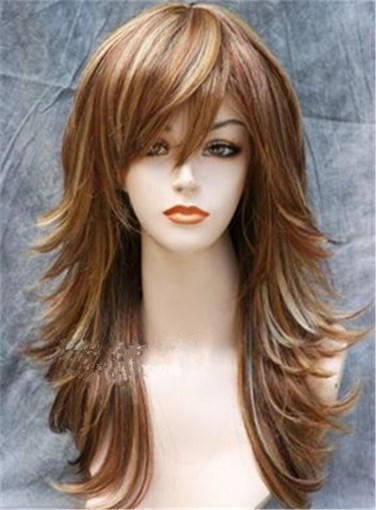 Ericdress Long Mixed Color Layered Side Wavy Hairstyle Synthetic Hair Capless Wig 18 Inches