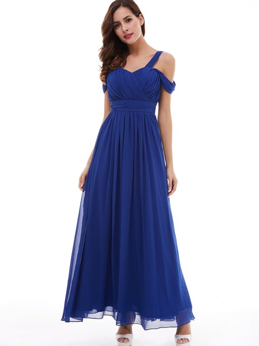 Ericdress Off The Shoulder Straps Pleated A Line Chiffon Evening Dress