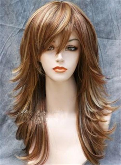 Ericdress Mixed Color Long Layered Hairstyle Wavy Synthetic Hair Capless Wig 18 Inches
