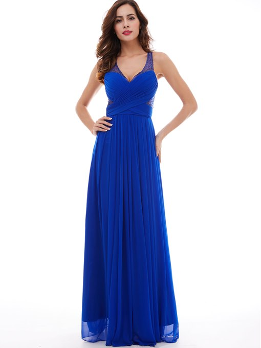 Ericdress A-Line V-Neck Criss-Cross Chiffon Floor-Length Evening Dress