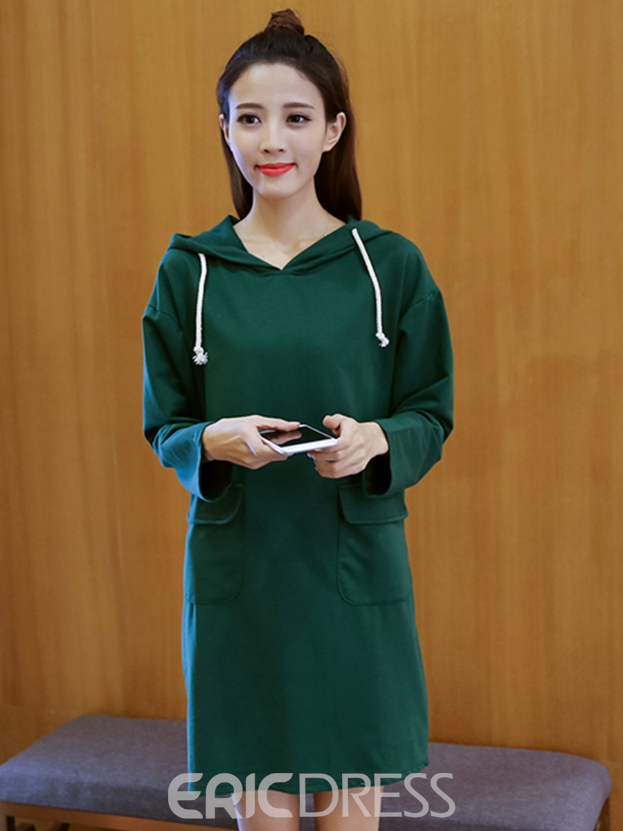 Ericdress Sports Hooded Pocket Casual Dress