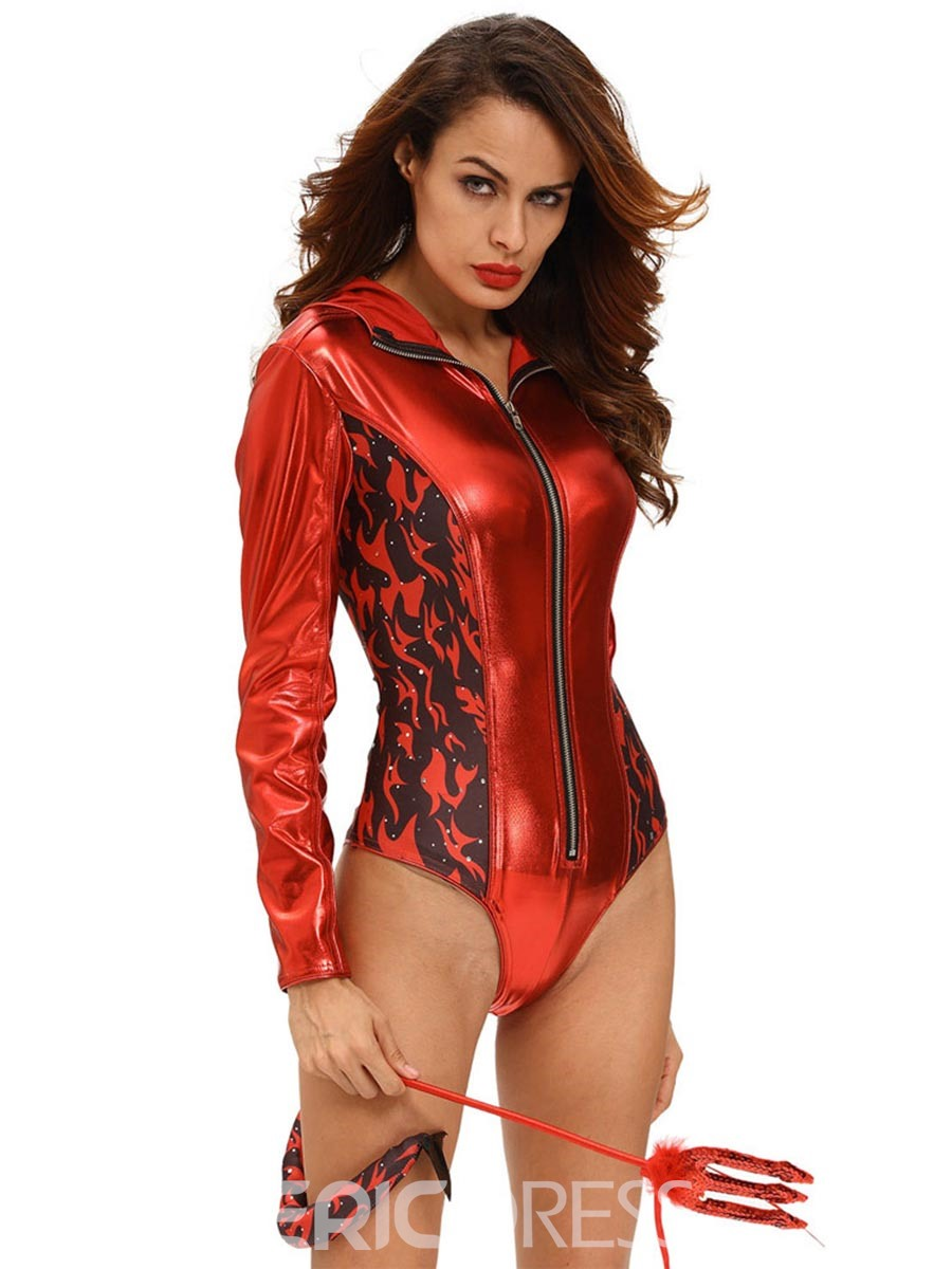 Ericdress Long Sleeve Color Block Print Devil Cosplay Costume