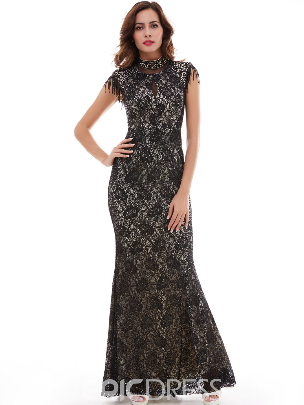 Ericdress Vintage High Neck Lace Mermaid/Trumpet Evening Dress