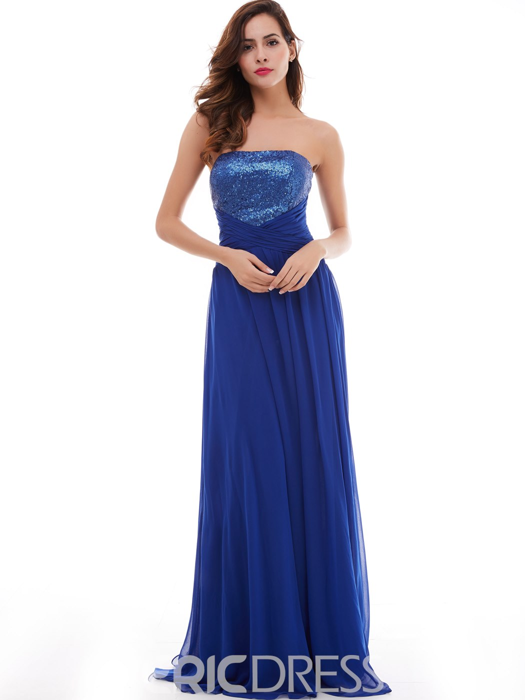 Ericdress A-Line Strapless Draped Pleats Sequins Long Prom Dress