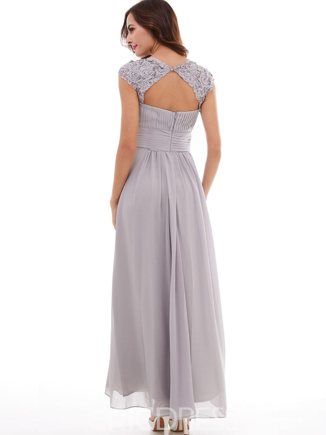 Ericdress A-Line Cap Sleeve Lace Sequins Open Back Evening Dress