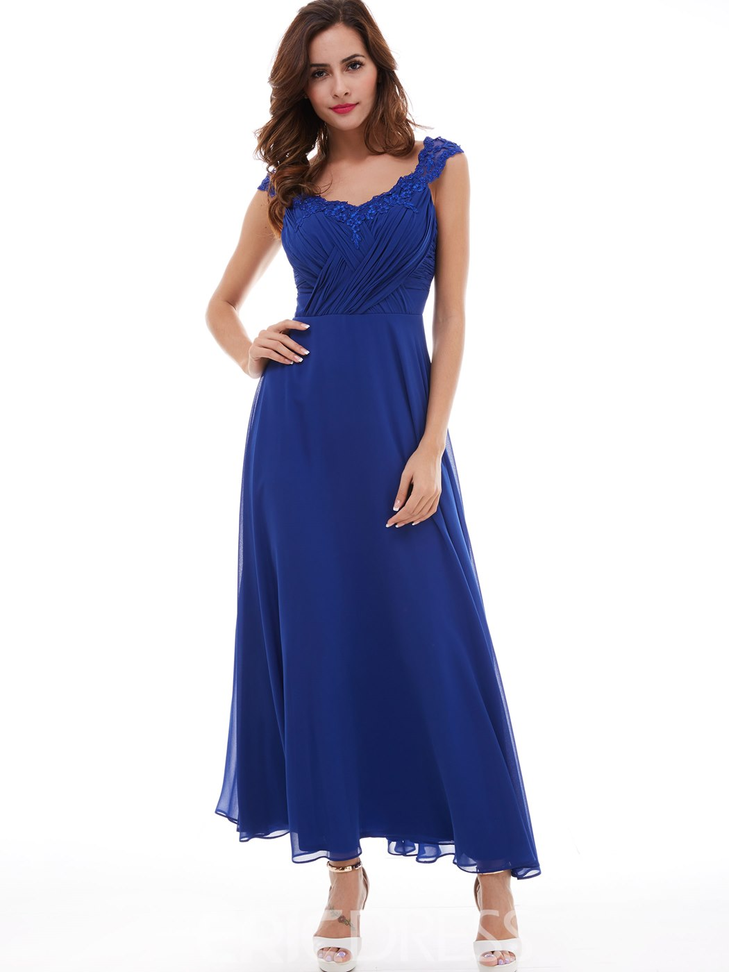 Ericdress A Line Cap Sleeve Pleated Appliques Lace Chiffon Evening Dress