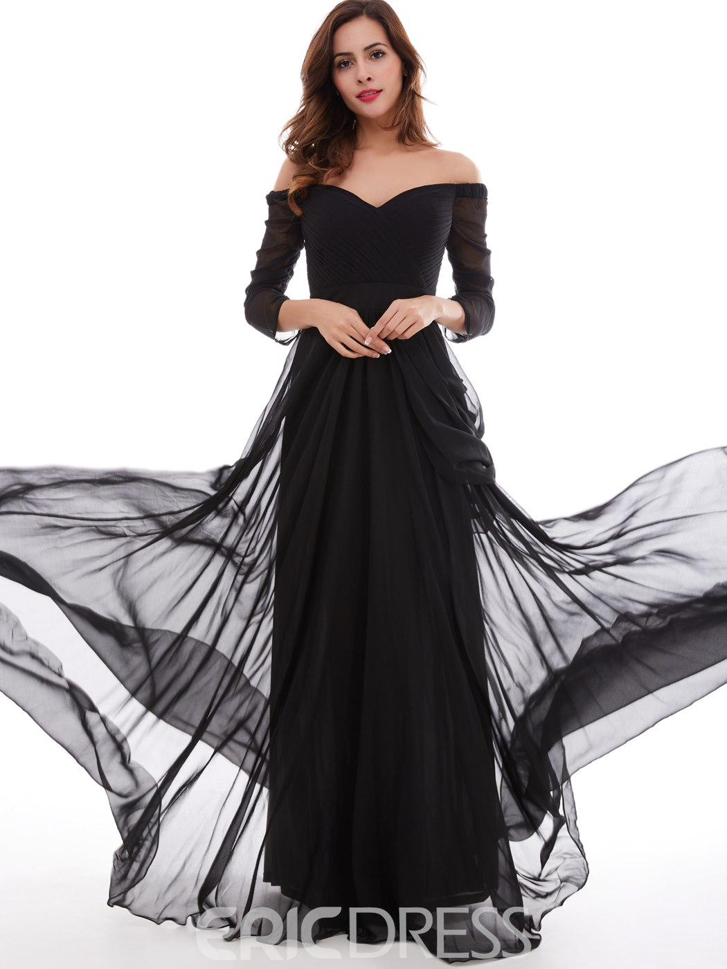 Ericdress a-line Off-the-Shoulder 3/4 Länge Ärmel Falten geraffte Abendkleid