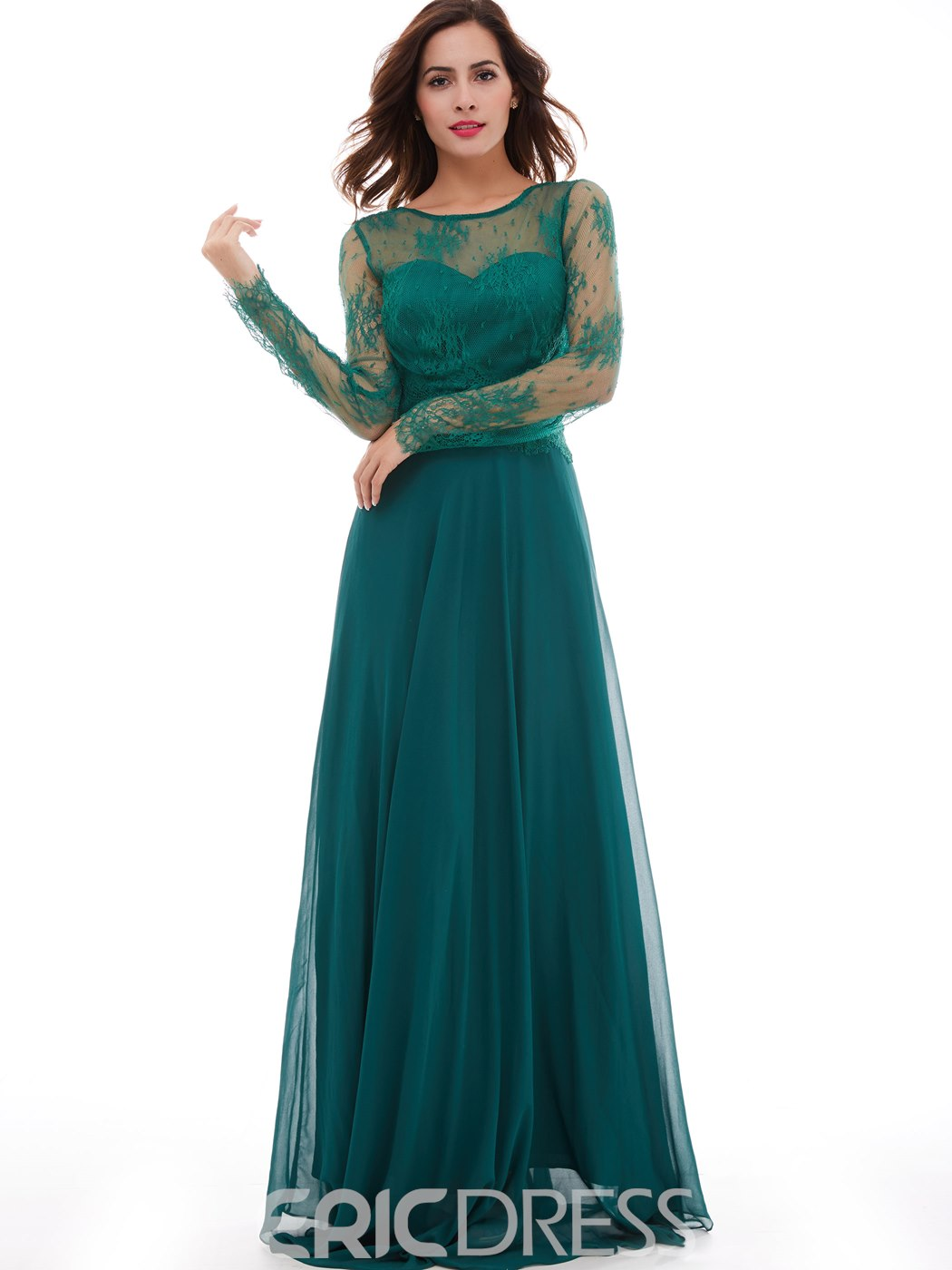 Ericdress A-Line Bateau Long Sleeves Lace Floor-Length Evening Dress