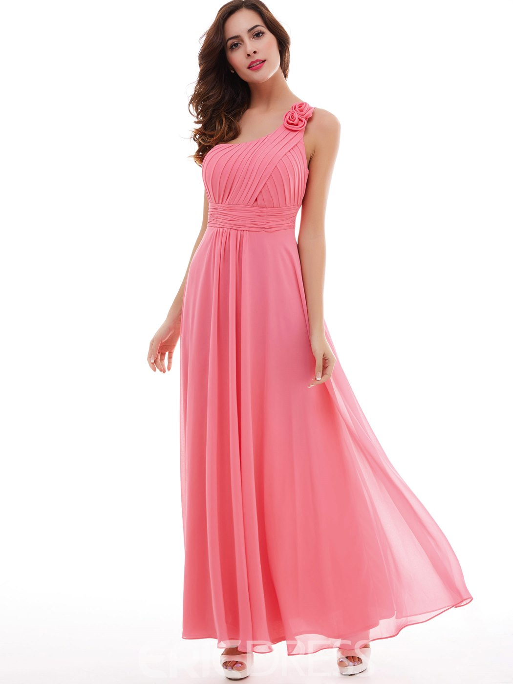 Ericdress One-Shoulder Flower plissiert Chiffon a-Linie Kleid