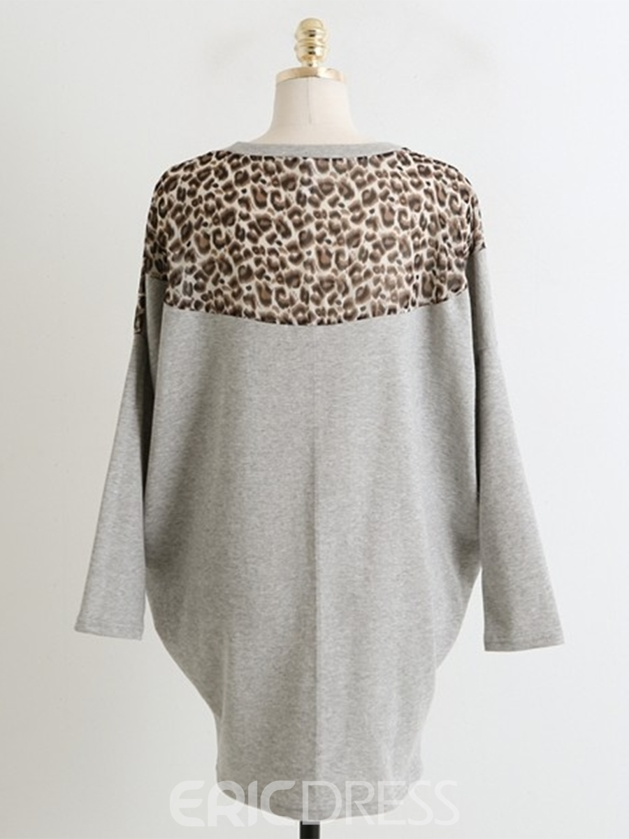Ericdress Leopard Patchwork Raglan Sleeve Loose Bodycon Dress