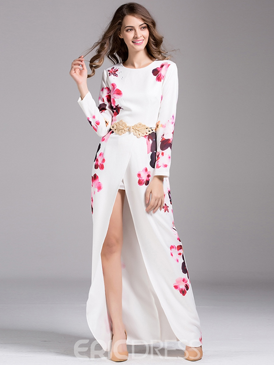 Ericdress Print Front Split Maxi Dress