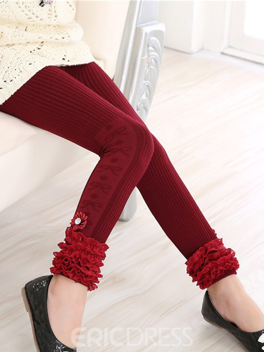 Ericdress Stripe Lace Diamond Girls Leggings