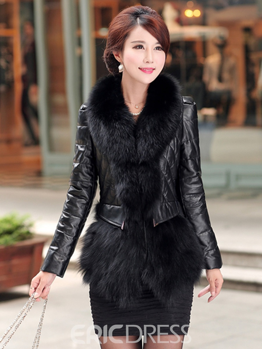 Ericdress Luxurious Slim PU Faux Fur Coat