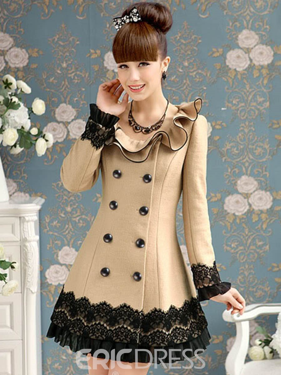 Ericdress Slim Color Block Lace Patchwork Coat