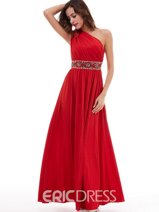 Ericdress A Line One Shoulder Pleats Beaded Floor Length Evening Dress