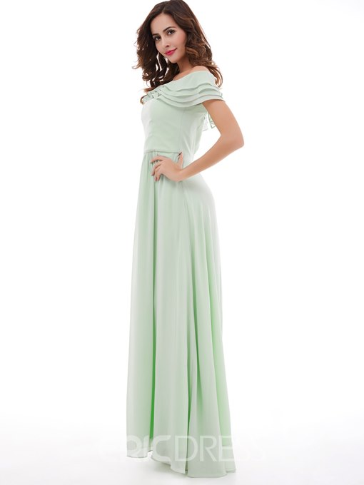 Ericdress Off-The-Shoulder Chiffon A-Line Long Prom Dress