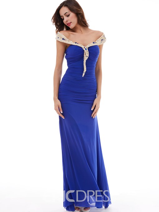 Ericdress A Line Chiffon One-Shoulder Beaded Sheath Evening Dress