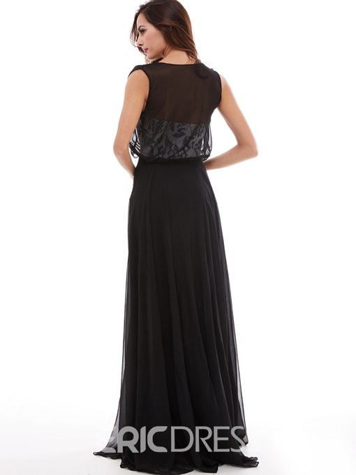 Ericdress A Line Chiffon Lace Evening Party Dress In Floor Length