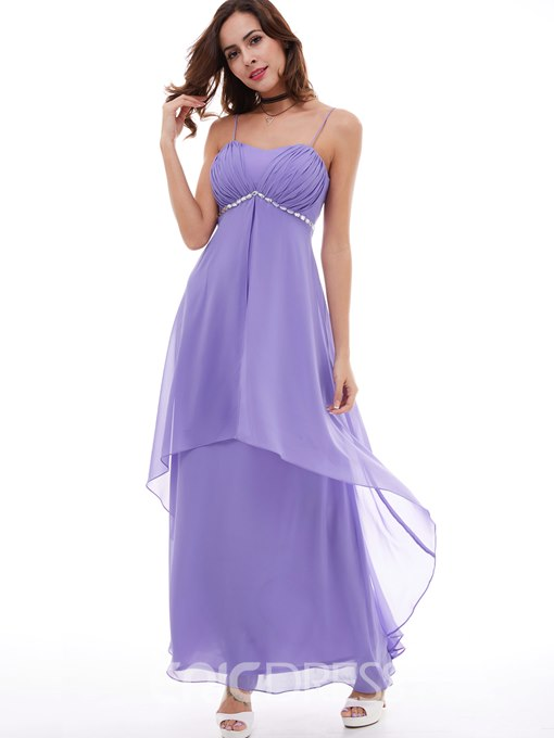 Ericdress A Line Spaghetti Straps Empire Waist Beaded Chiffon Evening Dress