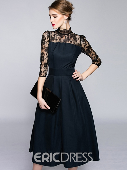 Ericdress Lace Patchwork See-Through Pleated Back Zipper Maxi Dress