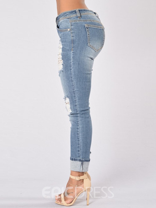 Ericdress Worn Holes Revers Washable Jeans