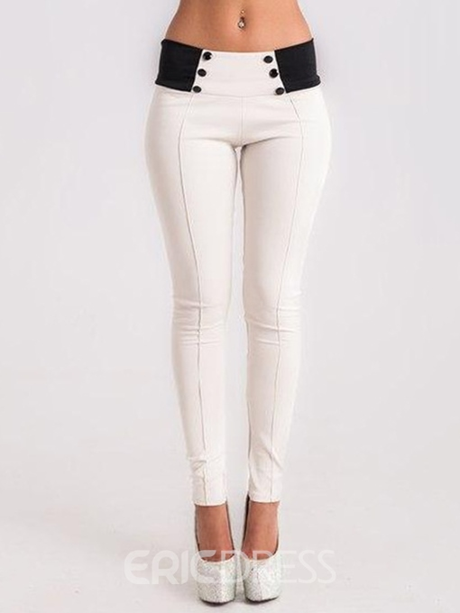 Ericdress Color Block Patchwork Button Low-Waist Skinny Leggings Pants