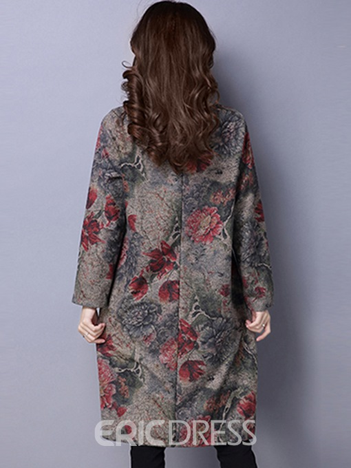 Ericdress Round Collar Floral Print Pocket Loose Casual Dress