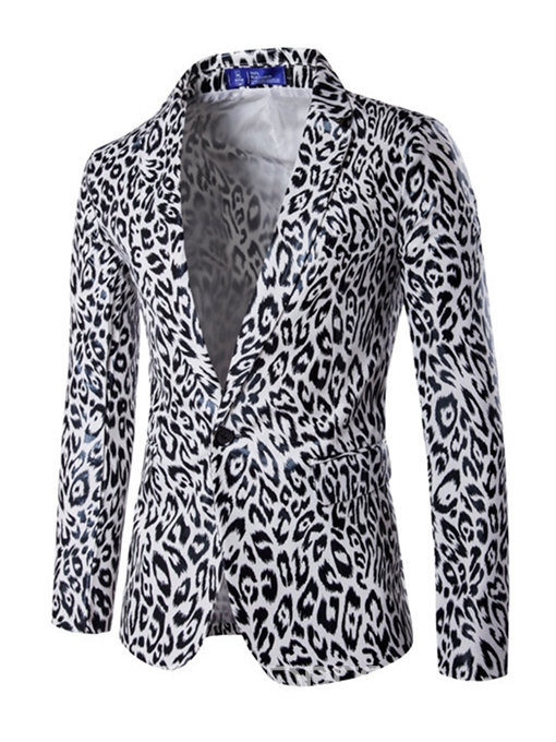 Ericdress Leopard Print PU Vogue One Button Slim Men's Blazer