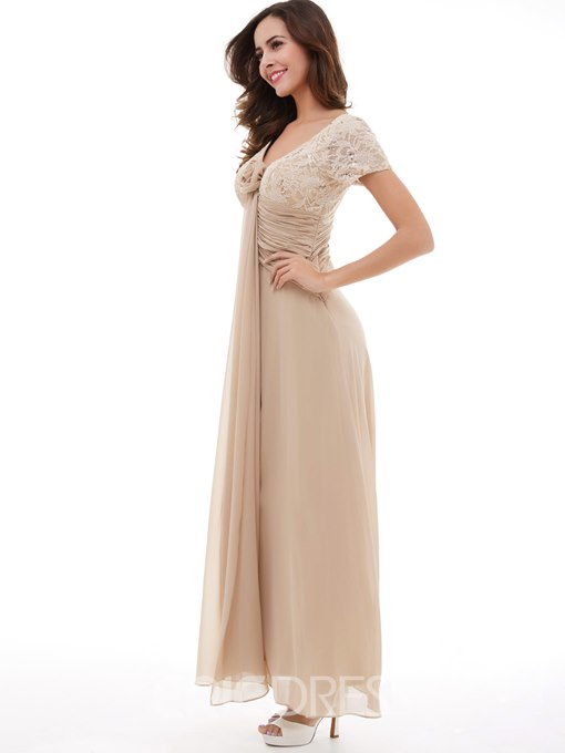 Ericdress A Line V-Neck Short Sleeves Sequins Lace Evening Dress