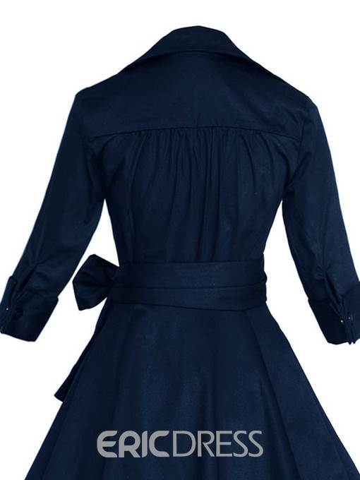 Ericdress Plus Size Mid-Calf Bowknot Half Sleeve Pullover Dress