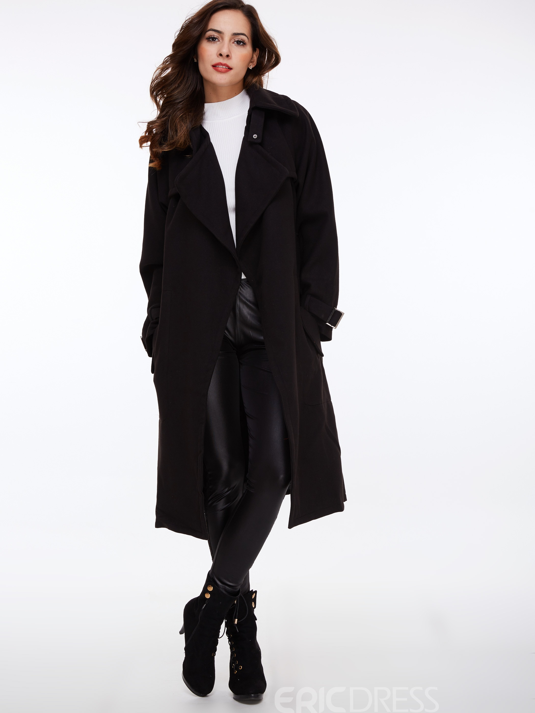 Ericdress Straight Plain Lace-Up Coat