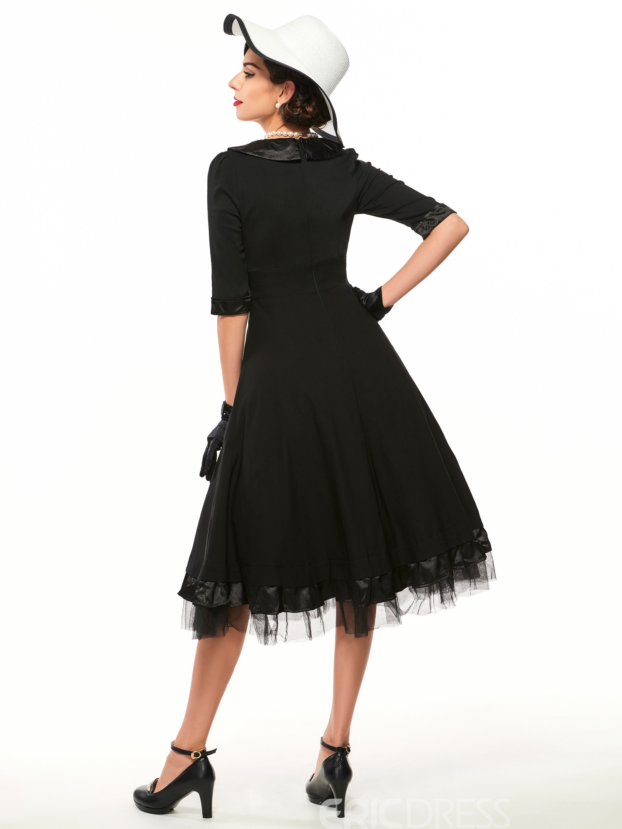 Ericdress 3D Floral Appliques Pleated Little Black Dress