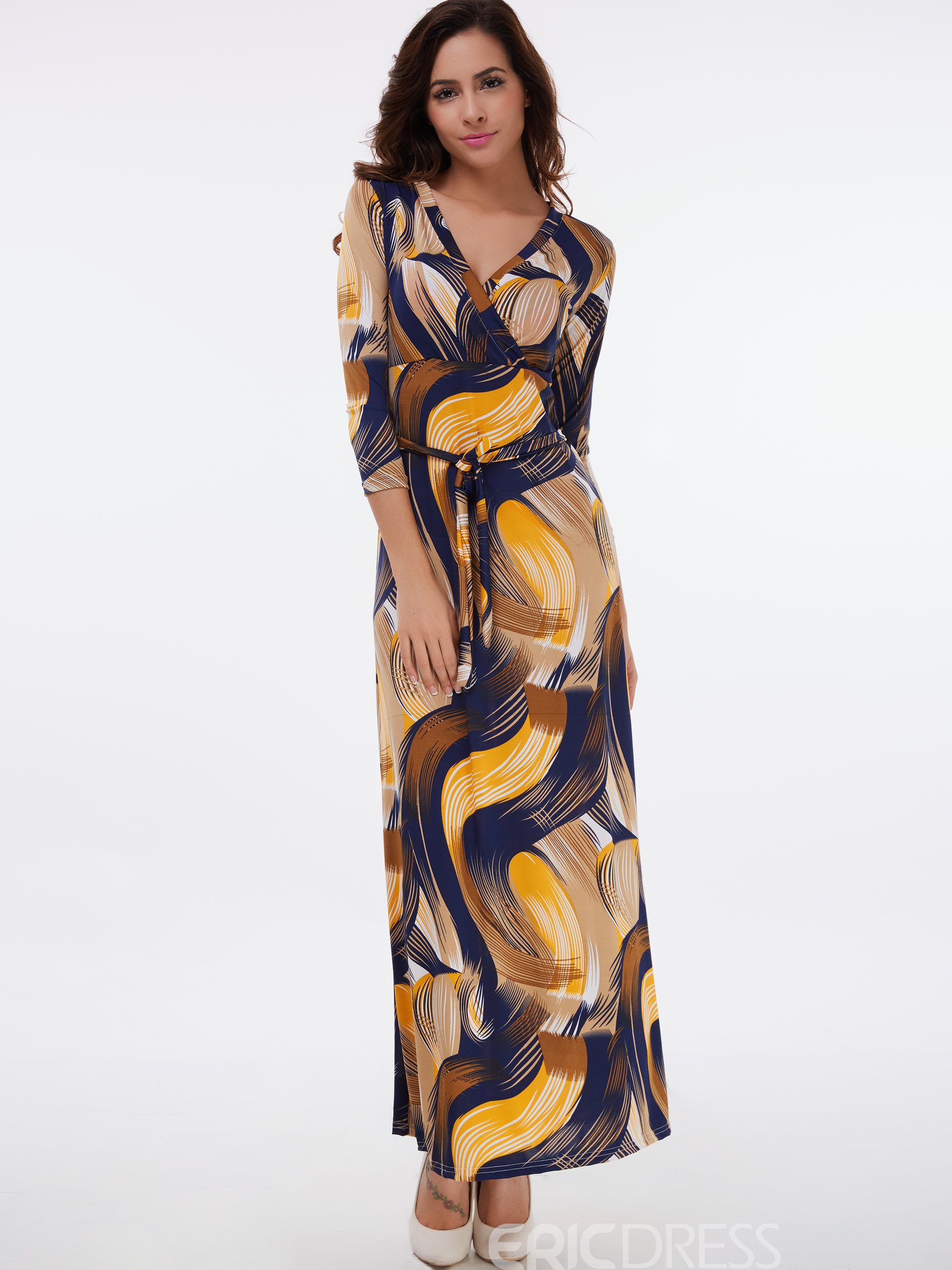 Ericdress Paisley Print Cross V-Neck Belt Maxi Dress