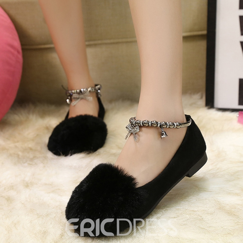 Ericdress Simple Metal Ankle Strap Flats