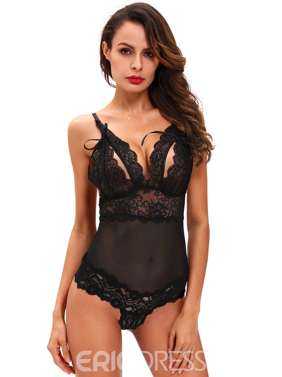 Ericdress Sexy Bodysuit Plain V-Neck Hollow Lace Teddy Bodysuit