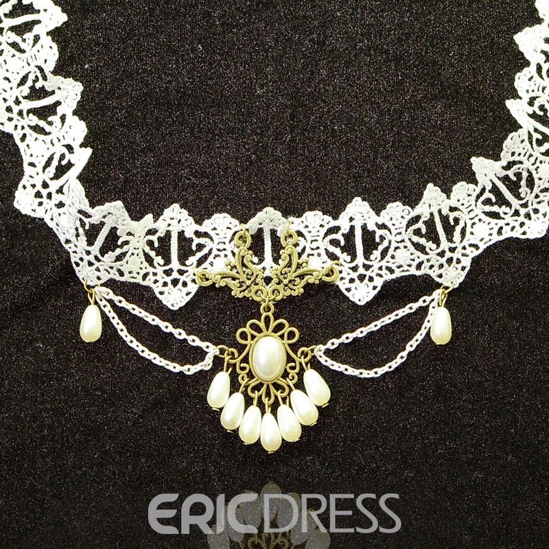 Ericdress Vintage Style White Lace Necklace