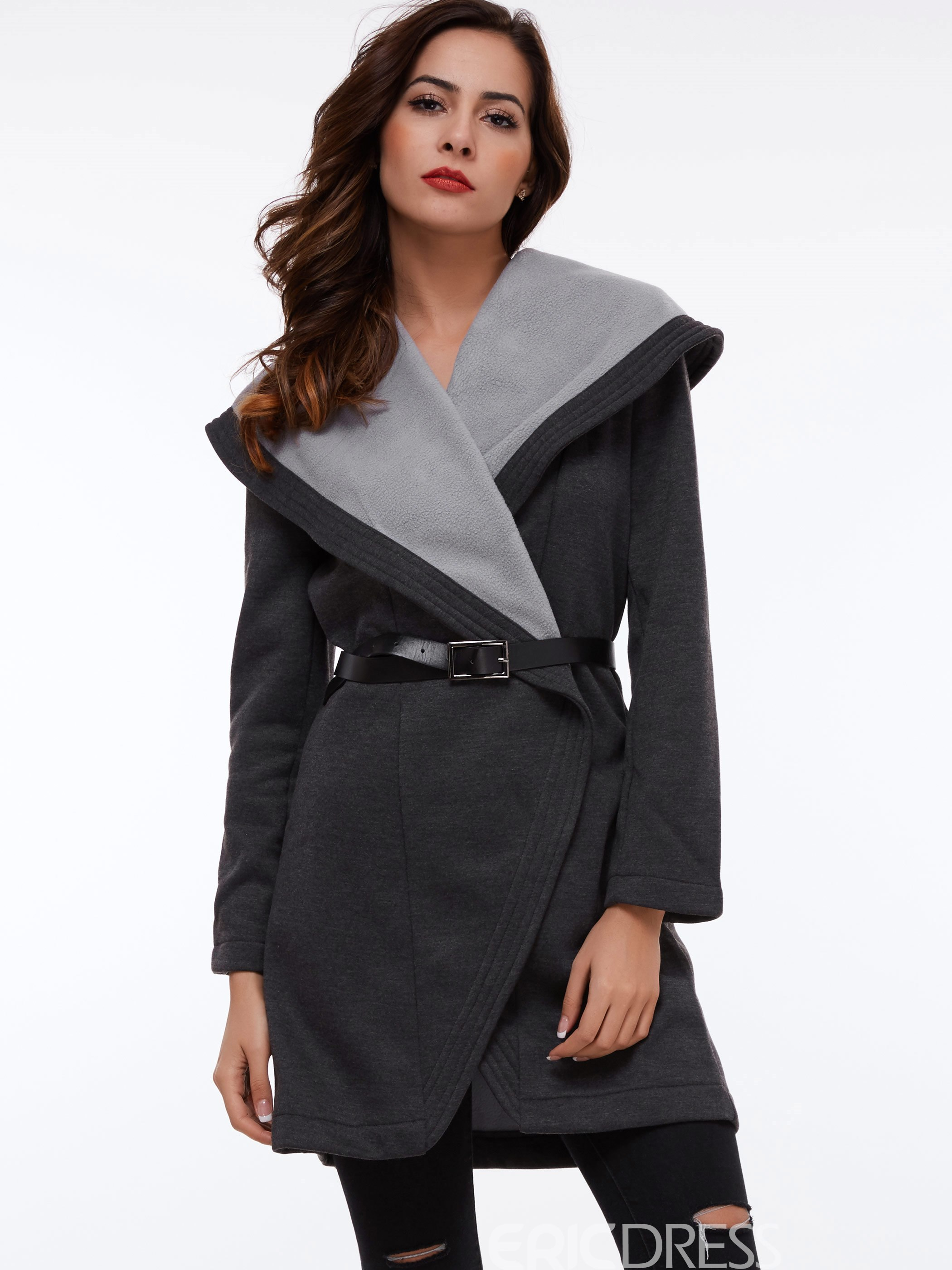 Ericdress Color Block Slim Turn-Down Plus Size Coat